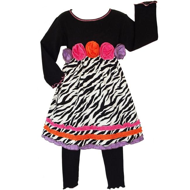 AnnLoren Girls' 2-piece Zebra/ Rose Dress/ Legging Outfit