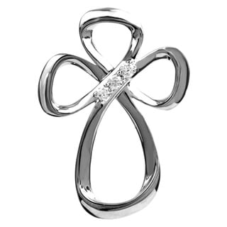 Jessica Simpson Sterling Silver Diamond Accent 3-stone Cross Necklace
