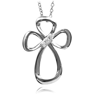 Bridal Symphony Sterling Silver Diamond Accent Cross Necklace