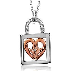 Bridal Symphony 10K Rose Gold/Sterling Silver Diamond Lock Necklace