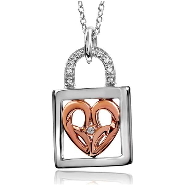 Bridal Symphony 10K Rose Gold/Sterling Silver Diamond Lock Necklace