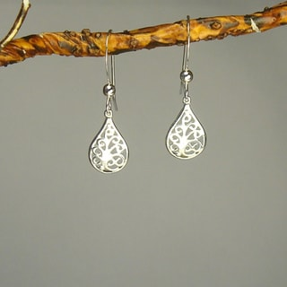 Filigree Teardrop Sterling Silver Earrings