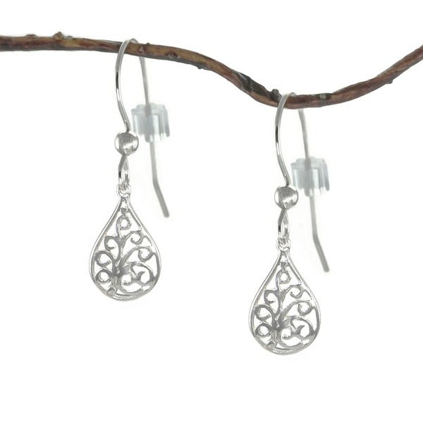 Jewelry by Dawn Small Filigree Teardrop Sterling Silver Earrings