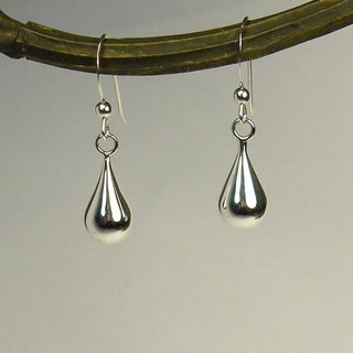 Round Teardrop Sterling Silver Earrings