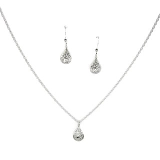 Filigree Teardrop Sterling Silver Necklace and Earring Set
