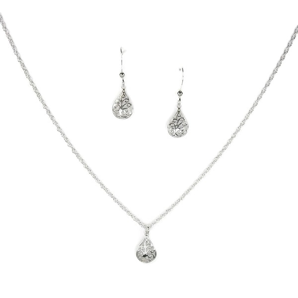 Jewelry by Dawn Small Filigree Teardrop Sterling Silver Necklace and Earring Set