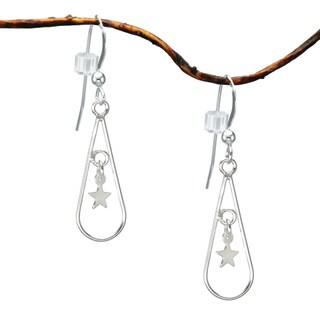 Jewelry by Dawn Sterling Silver Teardrop Earrings With Stars