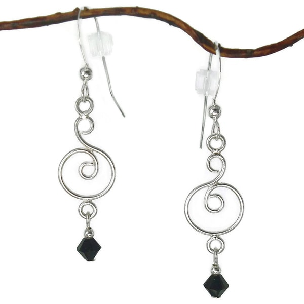 Jewelry by Dawn Curved Sterling Silver Earrings With Black Crystals