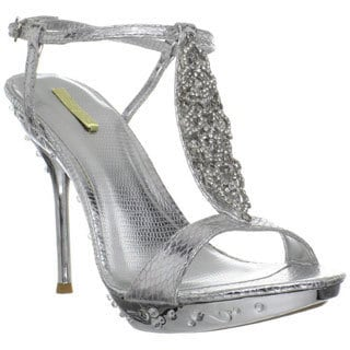 Celeste Women's 'May-18' Silver Rhinestone T-strap Heel