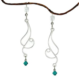Jewelry by Dawn Long Curved Sterling Silver Earrings With Teal Crystals