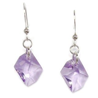 Sterling Silver Earrings With Violet Cosmic