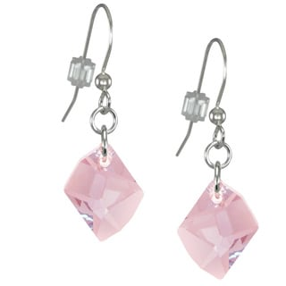 Jewelry by Dawn Sterling Silver Earrings With Pink Crystal Cosmic
