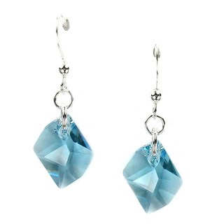 Sterling Silver Earrings With Aquamarine Crystal Cosmic
