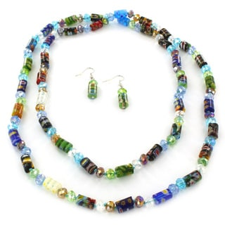 West Coast Jewelry Glass and Acrylic Geometric Bead Necklace and Earring Set
