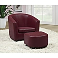 Red Faux Leather Juvenile Chair and Ottoman Set