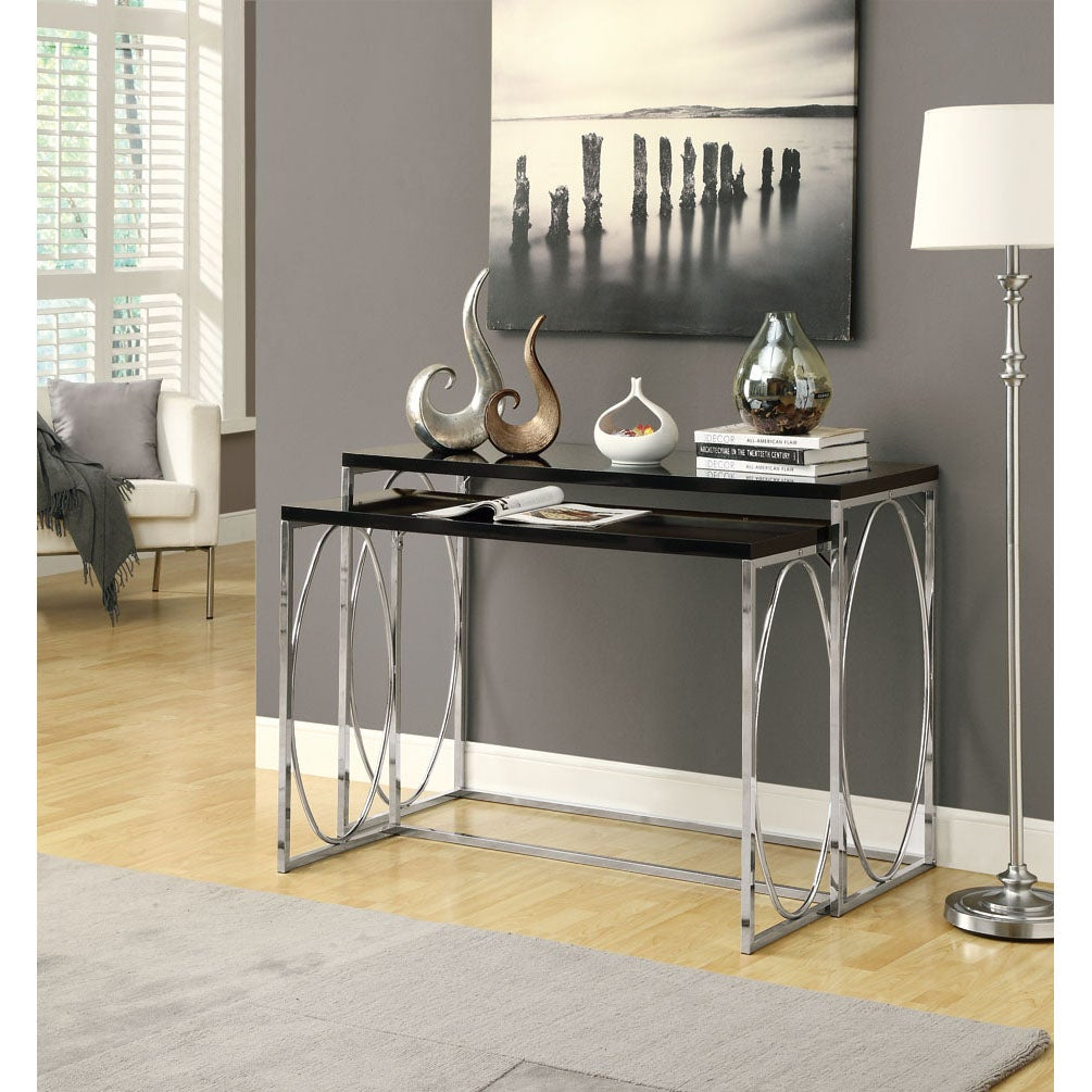 Glossy Black/ Chrome Metal 2- Piece Console Table Set