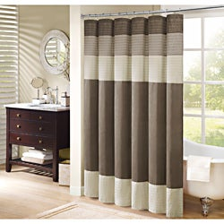 Madison Park Soloman Pieced Faux Silk Shower Curtain