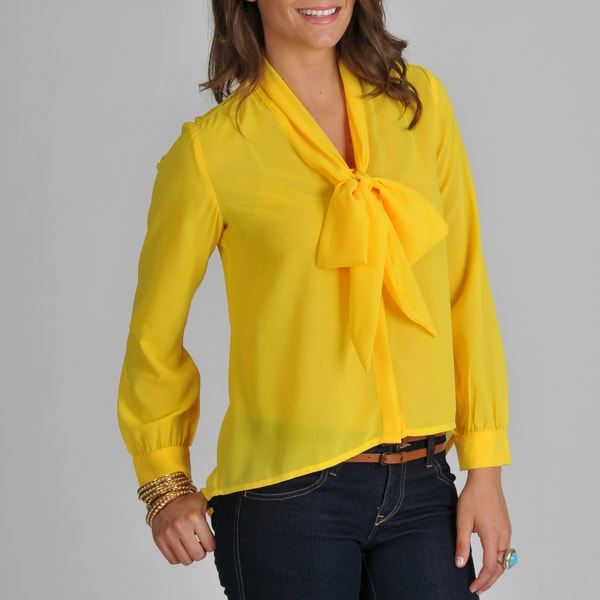 Yellow Bow Tie Blouse 2