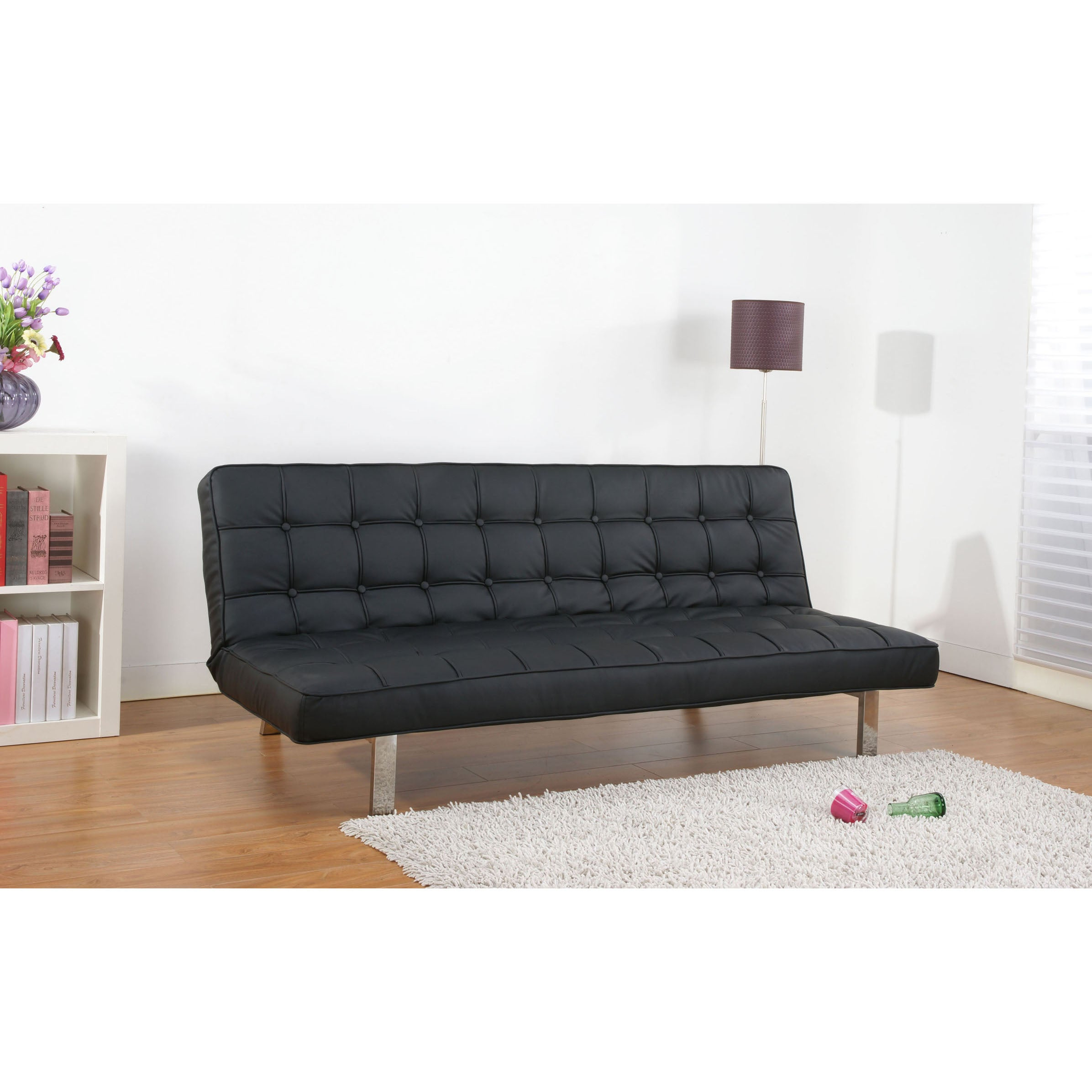 Vegas Black Futon Sofa Bed Overstock