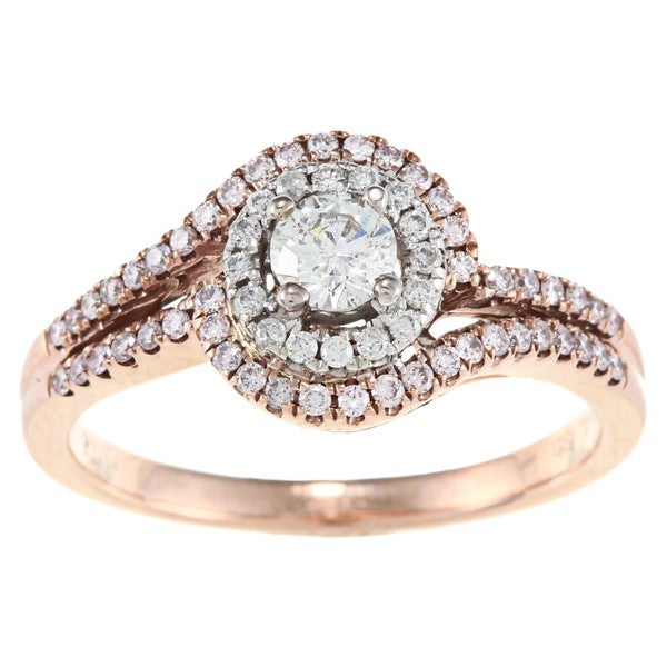 D'Yach 14k Rose Gold 3/5ct TDW White Diamond Ring (G-H, I1-I2)