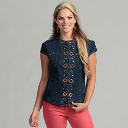 Live A Little Women's Denim Grommet Vest
