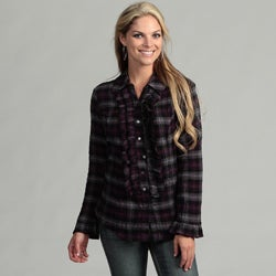 Live A Little Women's Plaid Ruffle Tunic