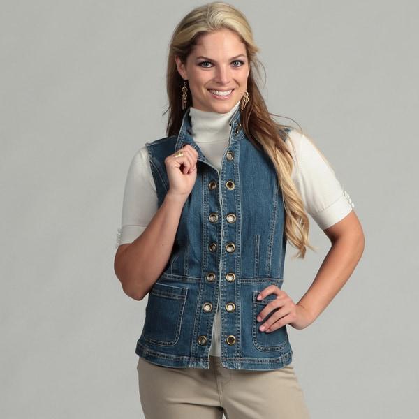 Live A Little Women's Grommet Denim Vest