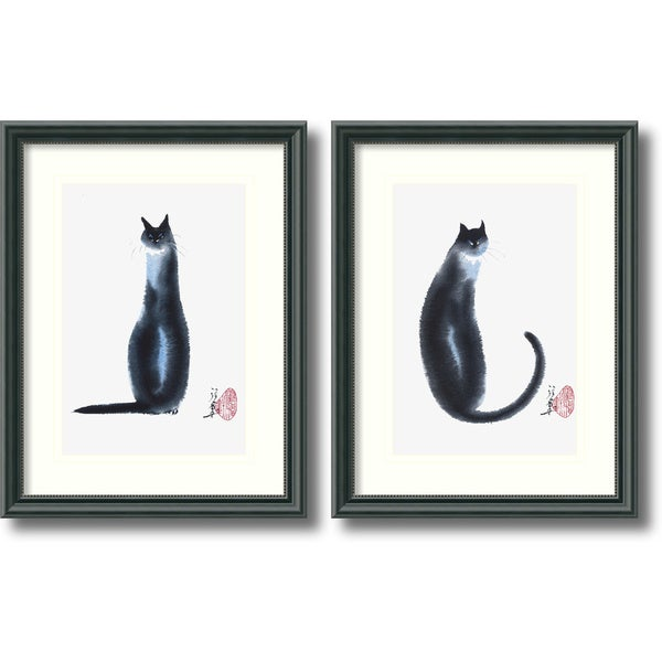 Cheng Yan 'Chinese Cats Set' Framed Art Print