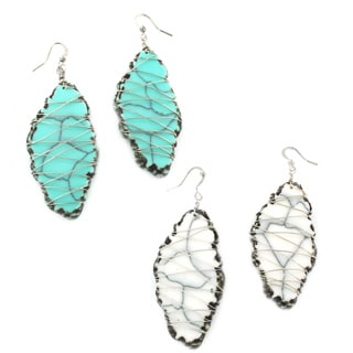 Marble and Wire Dangle Earrings