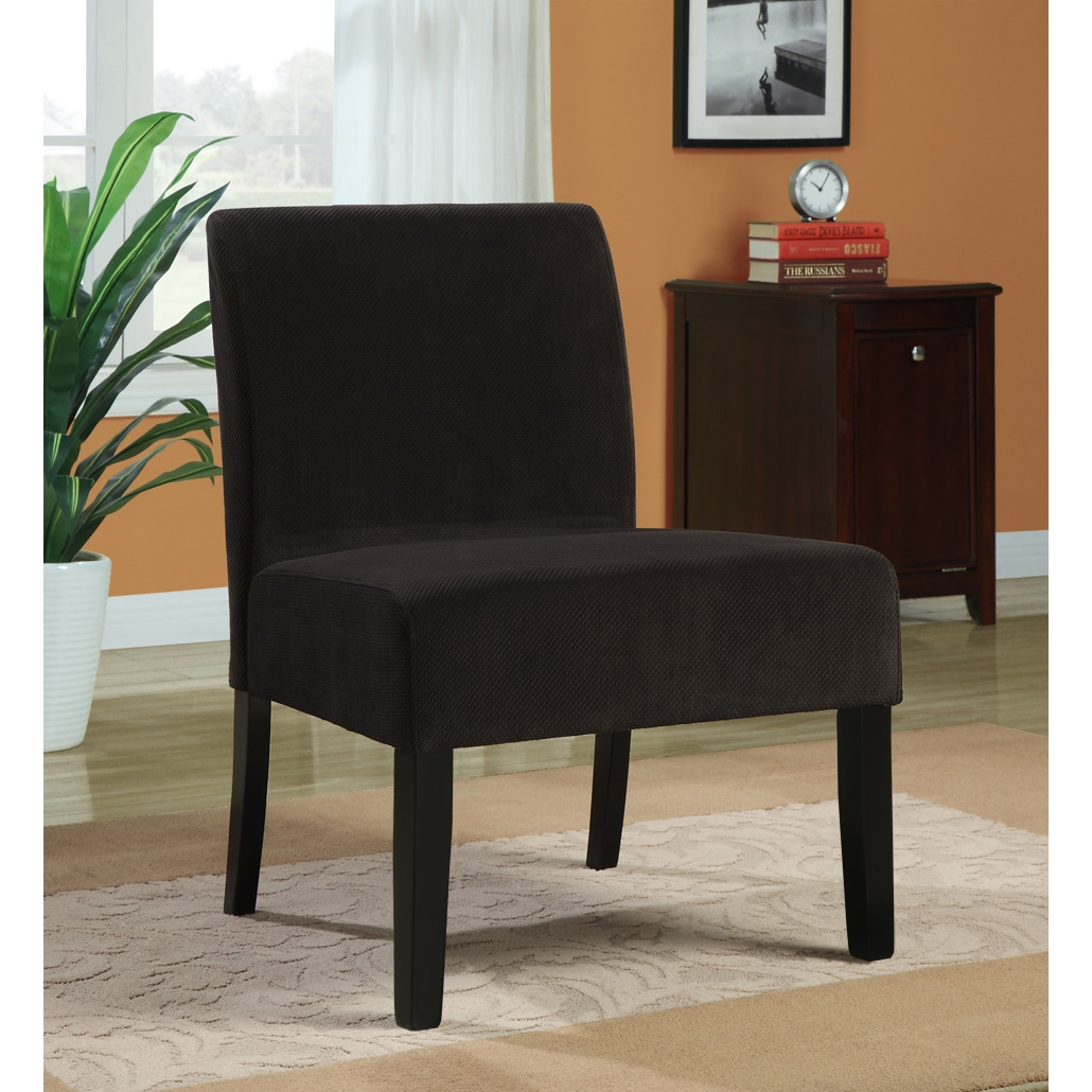 Chocolate Brown Diamond Velvet Accent Chair