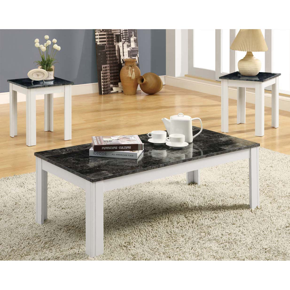 White wooden grey marble modern style living room end for Living room table sets