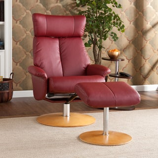 Cardwell Red Leather Recliner/ Ottoman