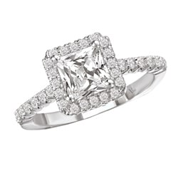 14k White Gold 3/8ct TDW Diamond and CZ Center Engagement Ring (G-H, SI1-SI2)