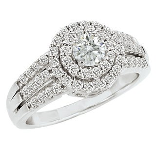 14k White Gold 1ct TDW Diamond Halo Engagement Ring (G-H, SI1-SI2)