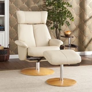 Cardwell Ivory Leather Recliner/ Ottoman