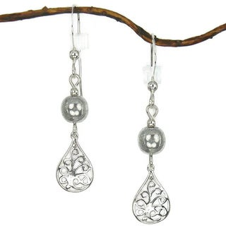 Filigree Teardrop With Silver Sterling Silver Earrings