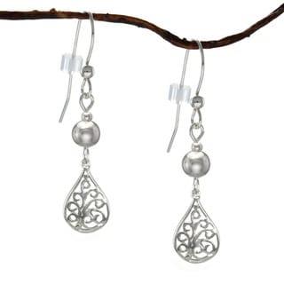 Handmade Jewelry by Dawn Filigree Teardrop with Silver Sterling Silver Earrings (USA)