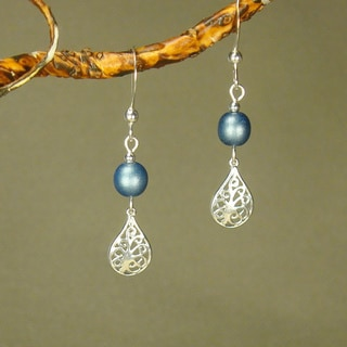 Filigree Teardrop Blue Sterling Silver Earrings