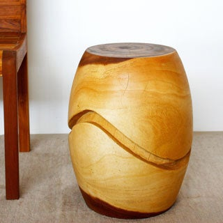 Clear-livos-oil-finish Monkey-pod-wood Puzzle Barrel Seat (Thailand)