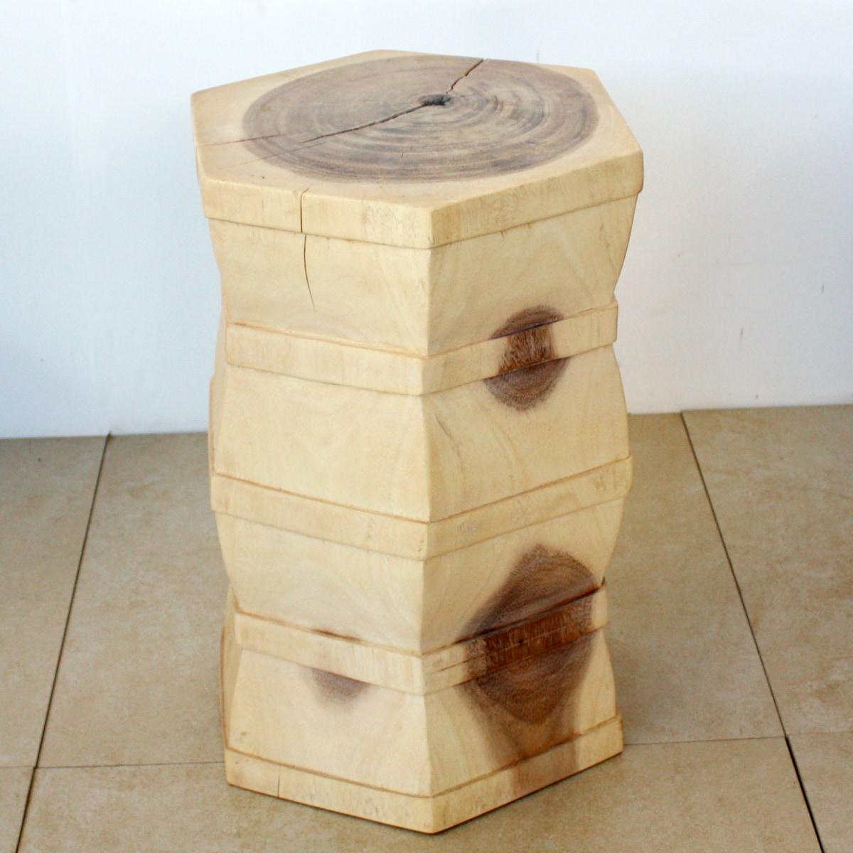 Hand-carved 13 x 20 Inverted 'V' 'Monkey Pod' White Oiled Wood Stool (Thailand)