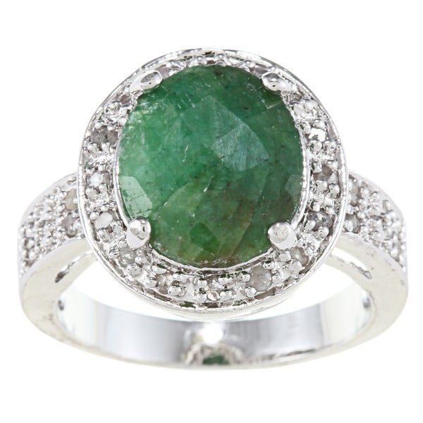 Silvertone Rough-cut Emerald and 1/4ct TDW Diamond Ring (J-K, I3)