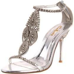 Celeste Women's 'Crystal-05' Silver Rhinestone Heels
