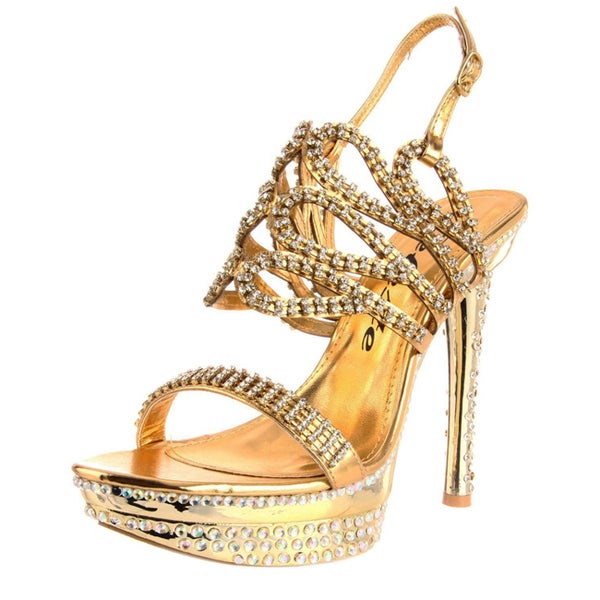 Celeste Women's 'Natalie-07' Gold Crystal Heels