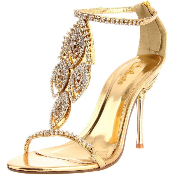 Celeste Women's 'Crystal-05' Gold Rhinestone Heels