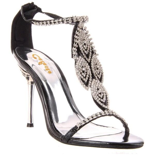Celeste Women's 'Crystal-05' Black Rhinestone Heel