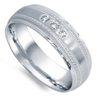 14k White Gold 1/8ct TDW Diamond 3-stone Wedding Band (G-H, SI1-SI2)