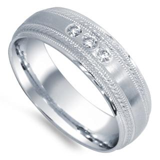 14k White Gold 1/8ct TDW Diamond 3-stone Wedding Band (G-H, SI1-SI2)