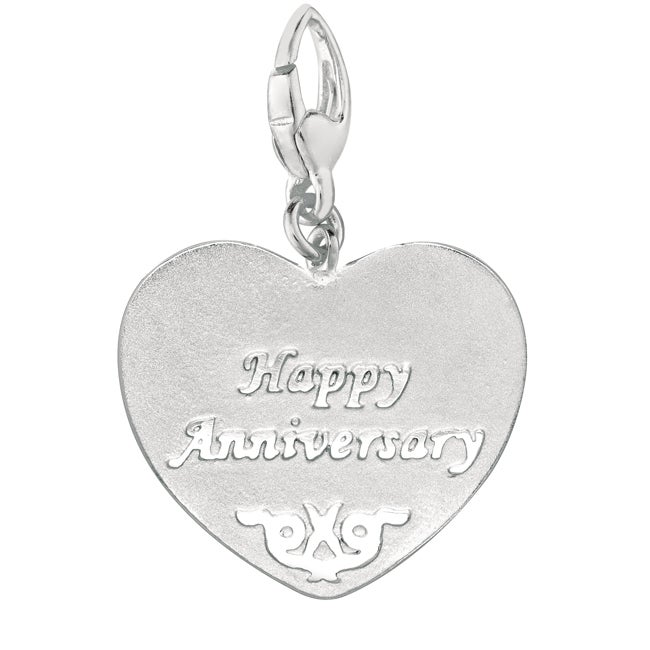 Sterling Silver Happy Anniversary Heart Charm