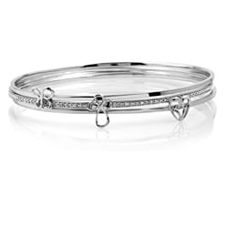 Sterling Silver 3-Piece Stackable Diamond Bangle Bracelet Set