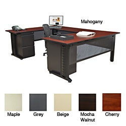 Regency Seating Fusion 72-inch Double Pedestal U-Desk with 42-inch Bridge